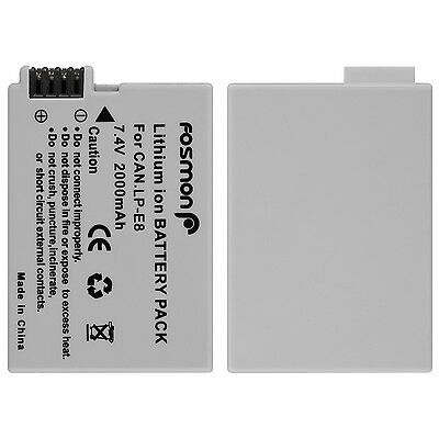 Fosmon 1x 2000mAh LP-E8 Replacement Battery for Canon EOS T2i 550D LPE8 DSLR