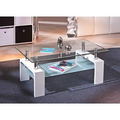 Table Design Plateau Rectangulaire Verre Moderne Blanc Pied De Basse Salon E9eYWH2DIb