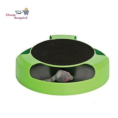 Catch The Mouse Cat Kitten Toy Scratching Claw Care Mat Motion Plush Moving Uk 3