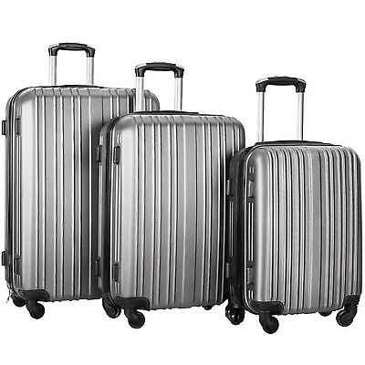 Merax Hylas 3 Piece Hardshell Spinner Luggage Travel Set ABS Trolley Suitcase