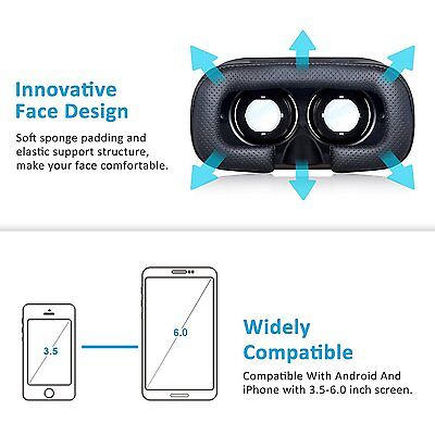 Virtual Reality VR Headset 3D Glasses With Remote for Android IOS iPhone Samsung 8
