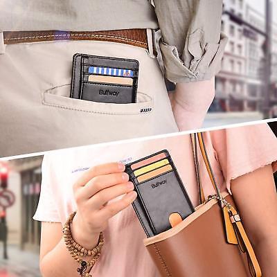 Buffway Slim mini ID holder card case front pocket Leather Wallet for Men Women 5
