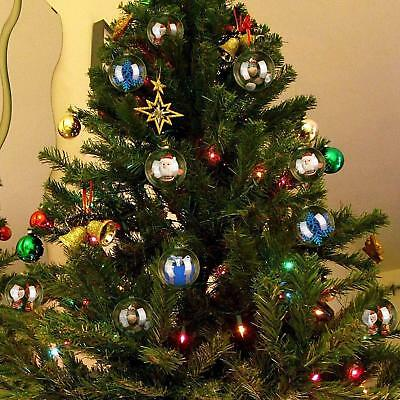 200Pcs Clear Plastic Christmas Balls Baubles Sphere Fillable Xmas Tree Ornament 6