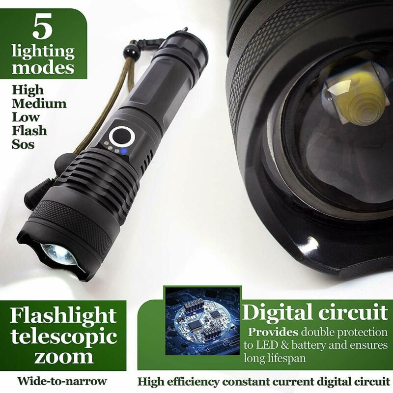 High Power 900000Lumens XHP50 Zoom Flashlight LED Rechargeable Torch Headlamp 7