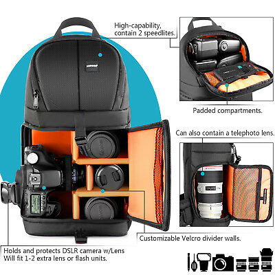 Neewer Pro Camera Case Sling Backpack Bag for Nikon Canon Sony Orange Interior 5