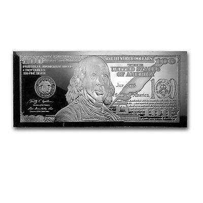 4 oz Silver Bar - Random Year $100 Bill (w/Box & COA) - SKU #96551 2