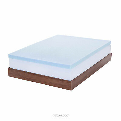 LUCID 2, 3, 4 Inch Cooling Gel Memory Foam Mattress Topper - Full Queen King 5