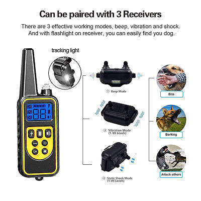 Dog Shock Training Collar Rechargeable Remote Control Waterproof IP67 875 Yards