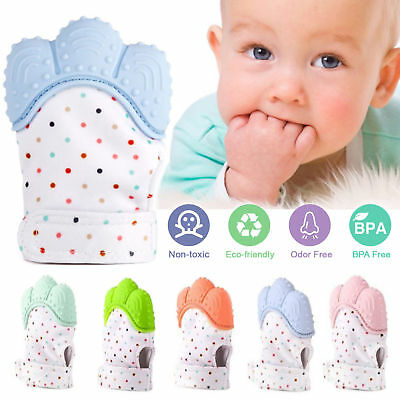 Baby Silicone Mitts Teething Mitten Glove Candy Wrapper Sound Teether Toy Gifts 2
