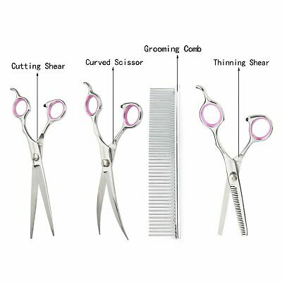 "7""Professional Pet Dog Grooming Scissors Set Straight&Curved&Thinning Shears Kit 4"