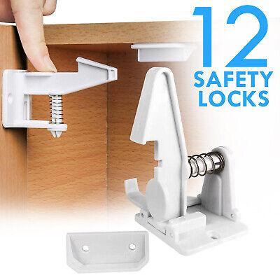Cabinet Locks Child Safety Latch Baby Proof Lock Drawer 12 Pack White 2