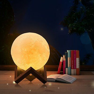 3D Printing Moon Lamp USB LED Night Light Moonlight Touch Color Changing 8-18CM 12