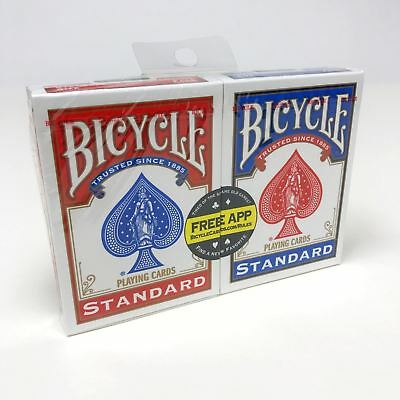 2 x Bicycle Playing Cards Decks 1 Red & 1 Blue Casino Poker Snap Family Games 7