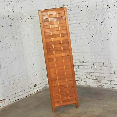 Mid Century Woven Wood Folding Screen 4 Panel Room Divider in Pine 9