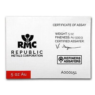 5 oz Gold Bar - Republic Metals Corporation (Cast w/Assay) 3