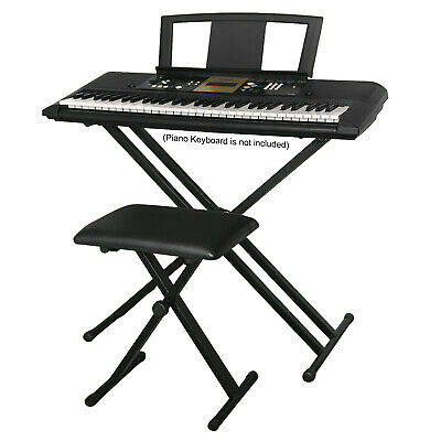 Double Braced Height Adjustable X Frame Music Piano Keyboard Stand & Bench Chair 3