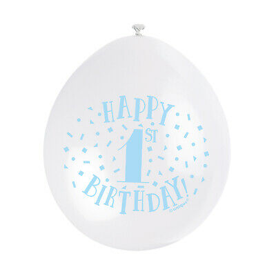 """10 HAPPY 1st BIRTHDAY 9"""" BLUE PINK MIX Latex Balloons Party Decoration Air Fill 6"""