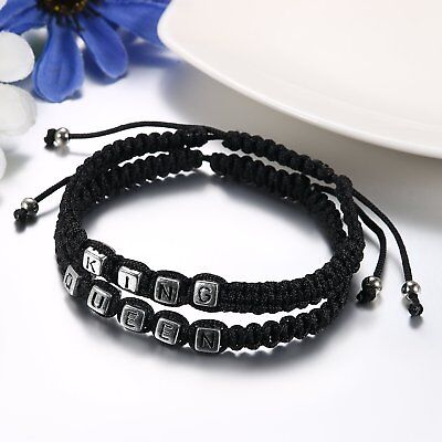 2pcs Handmade His and Hers Lovers Matching His Queen Her King Couple Bracelet 2