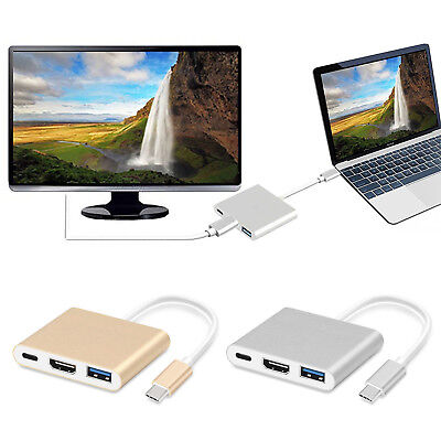 New Type C to USB-C 4K HDMI USB 3.0 3 in 1 Hub Adapter Cable For Apple Macbook 2