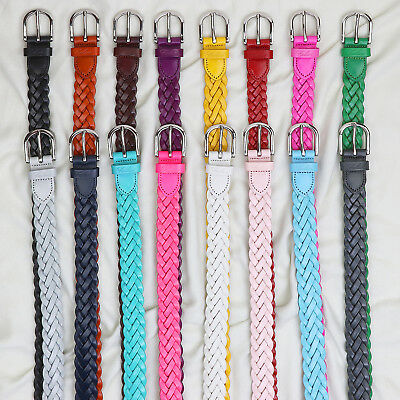 Falari Women's Leather Hand Braided Belt Stainless Steel Buckle 6007-16 Colors 2