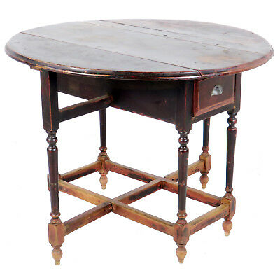 Antique Asian Chinese 42 inch Round Drop Leaf Gate Leg Table 5