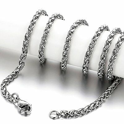 MENDINO Men's 316L Stainless Steel Necklace Spiga Chain Link Silver 3.0mm-6.0mm