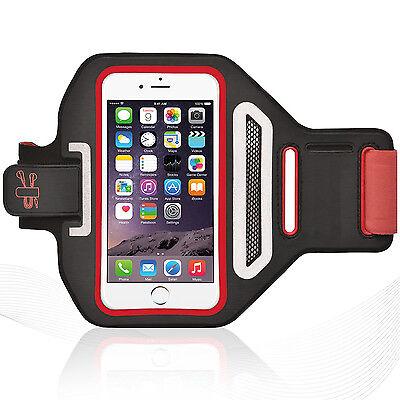 "Universal Smartphone 4.7"" Red Lycra Armband Sports Reflective Headphone Tie"