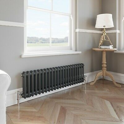 Traditional Colosseum Horizontal Double Bar Radiator 300 x 1000mm Anthracite