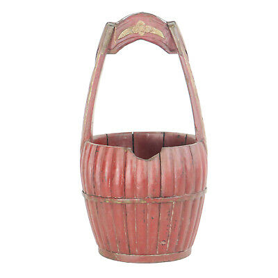 """Antique Chinese Carved Wood Utility Food Basket Bucket w/ Handle  10"""" Dia X 18"""" 2"""