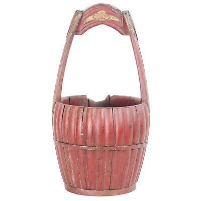 """Antique Chinese Carved Wood Utility Food Basket Bucket w/ Handle  10"""" Dia X 18"""" 6"""