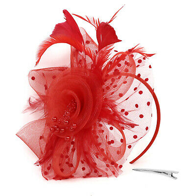 Ladies' Day Fascinator Hat Cocktail Tea Party Headband Women Wedding Hair Clip 11