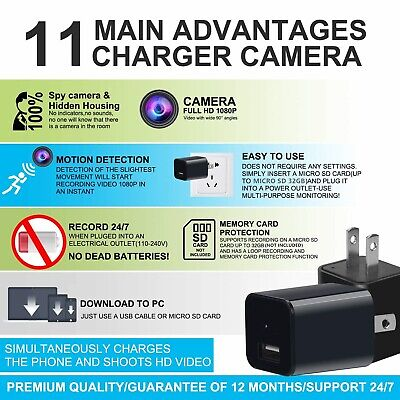 Hidden Spy Mini Camera 1080P Full HD Charger  Motion Detection Loop Record 32GB 6