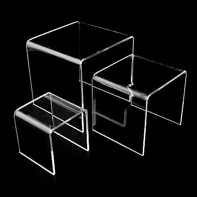 3pk Assorted Size Square Acrylic Clear Risers Display Stand 3,4, 5 Inch