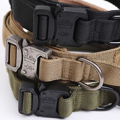HEAVY DUTY K9 Military Dog Collar Leash Handle Medium Large metal Buckle 12