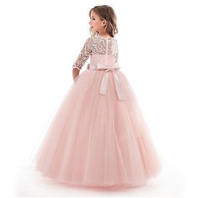 Flower Girl Dress Princess Party Wedding Bridesmaid Kid Formal Gown Long Dresses 6