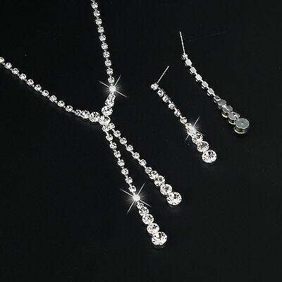 Silver Women Bridal Bridesmaid Wedding Jewelry Sets Necklace Earrings Set Gifts 5