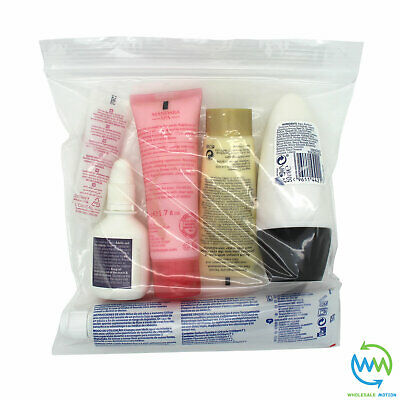 10 x Clear AIRPORT SECURITY LIQUID BAGS Plastic Seal HOLIDAY Travel HAND LUGGAGE 7