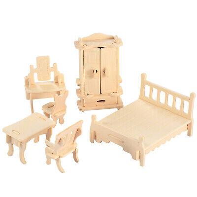 Mini 3D Wooden Puzzle DIY 34 Pcs Miniature Dollhouse Furniture Models For Doll 8