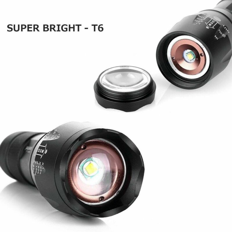 90000LM Tactical T6 Zoomable LED Flashlight Torch Light +18650 Battery + Charger 7