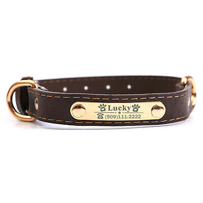 PU Personalized Dog Collars Name ID Collar with Nameplate Engraved XS-XL 7