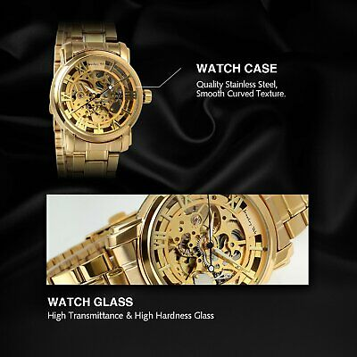 Luxury Mens Stainless Steel Gold Tone Skeleton Automatic Mechanical Wrist Watch 3