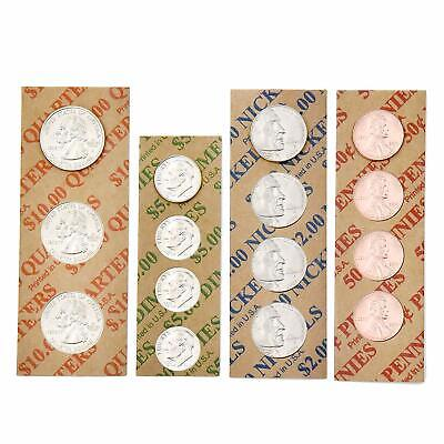 200ct Assorted Flat Coin Wrappers Tubes Rolls Quarters Pennies Nickels Dimes 2