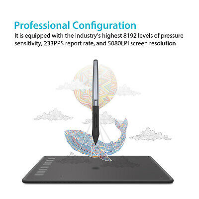 USED HUION Inspiroy H950P Graphics Drawing Tablet 8192 Battery Free Pen Tilt 2