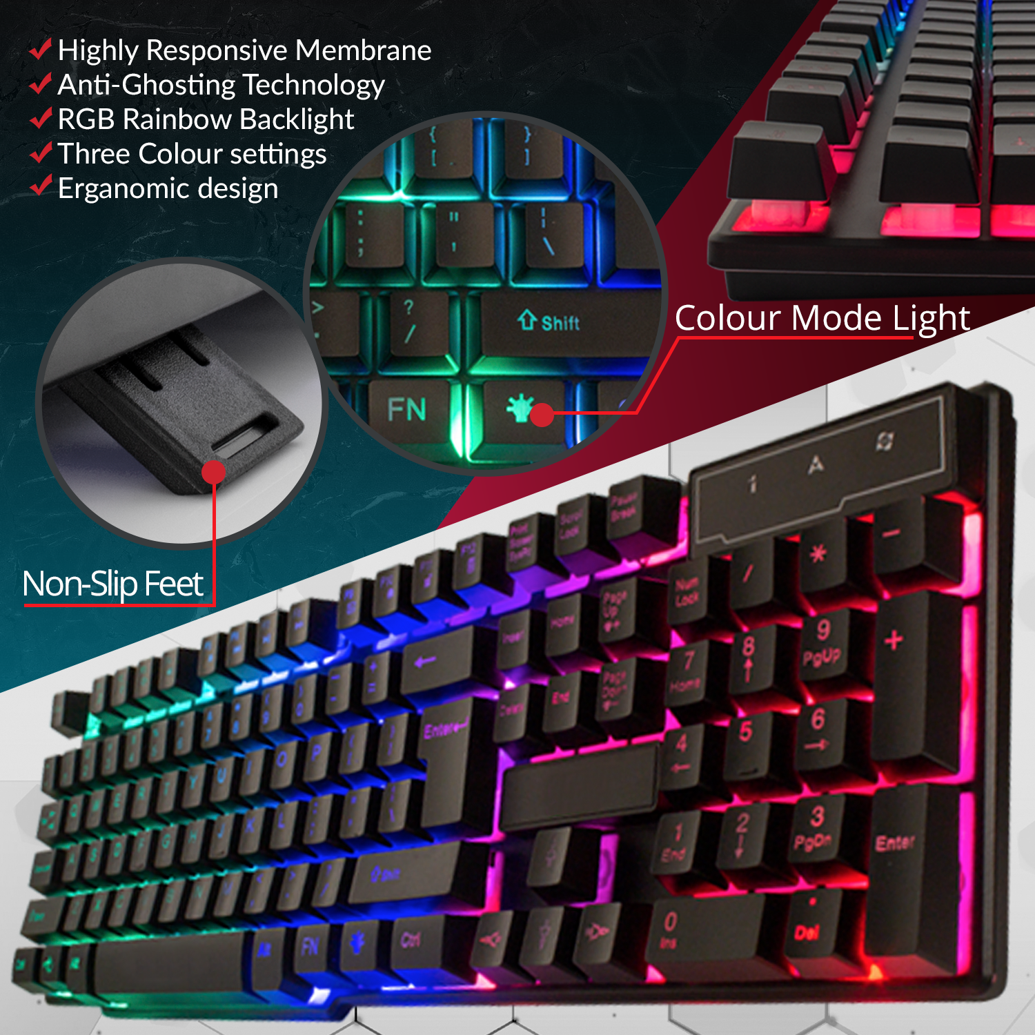 RGB Gaming Keyboard LED Back-lit Wired USB For Xbox PS4 PC Laptop Gaming 6
