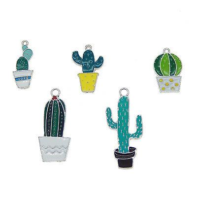 5 pcs Mix Green Enamel Cactus Plants Charms Pendants Jewelry Crafts Accessories 4