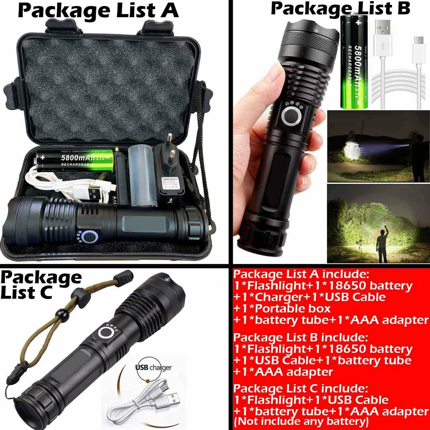 High Power 900000Lumens XHP50 Zoom Flashlight LED Rechargeable Torch Headlamp 5