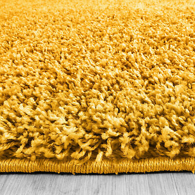 5cm HIGH PILE SMALL LARGE PREMIUM QUALITY SHAGGY RUG OCHRE YELLOW MUSTARD GOLD 3