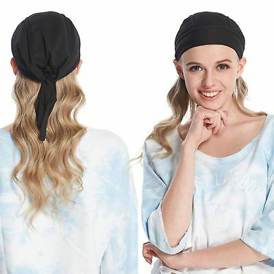 Men Cap Fitted Solid Tied Back Bandana Doo Rag Motorcycle Cycling Skull Hats US