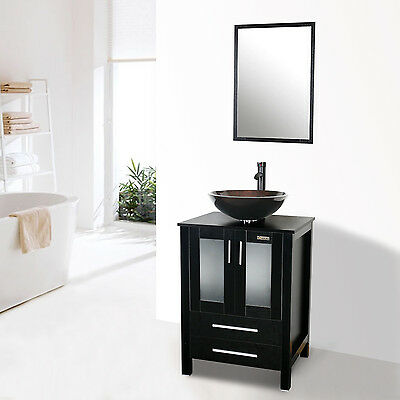 24 Modern Wood Bathroom Vanity Set W Mirror Cabinet Glass Single Sink Faucet