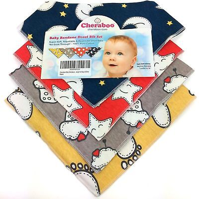 Baby Bibs Bandana Drool Bib 4 Pack by Cheraboo Gift Set Reversible & Soft 4